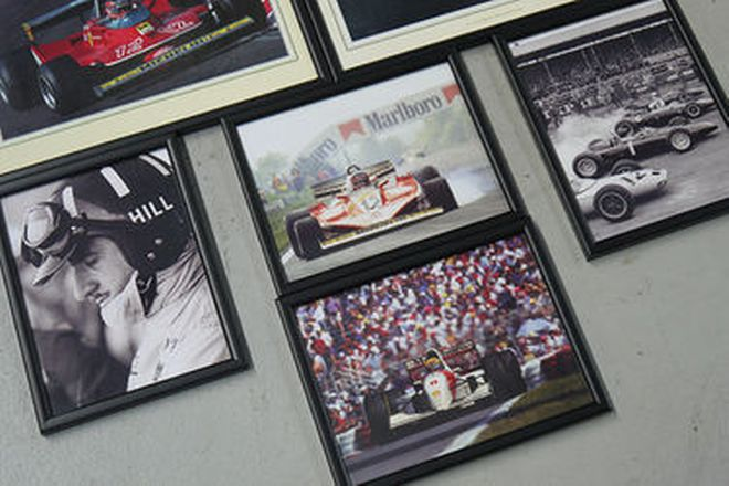 Framed Photographs x 8 - Assorted Period F1 Racing