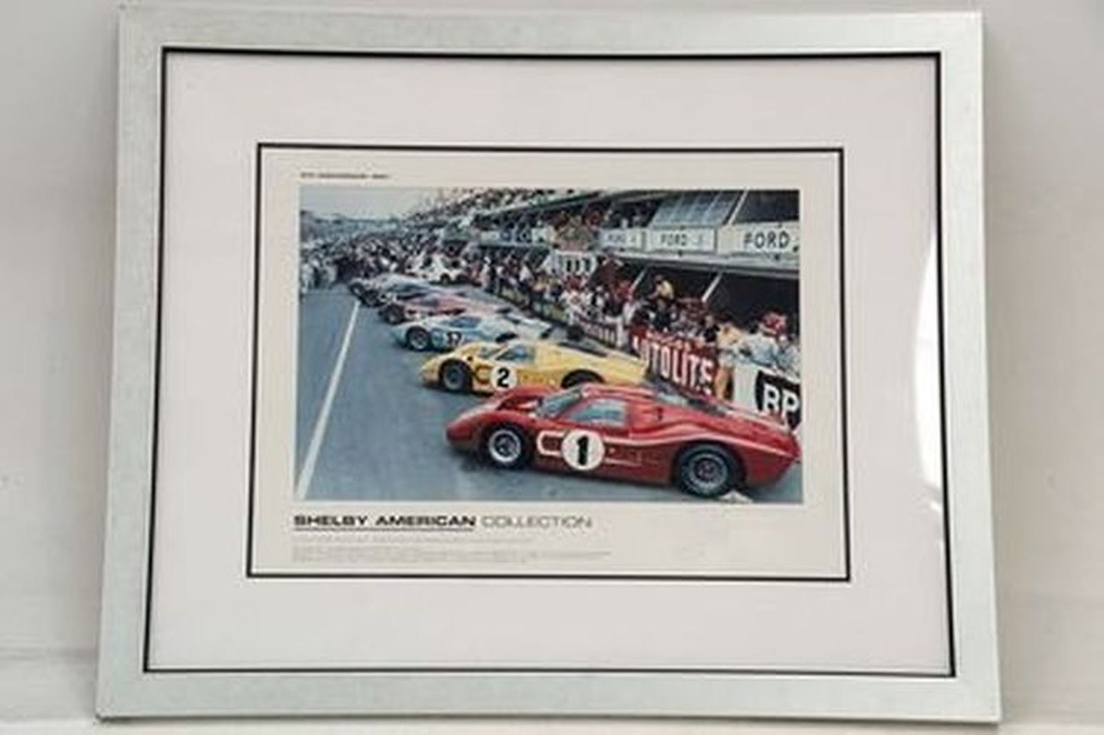 Framed Signed Print - Shelby American Collection signed by Caroll Shelby (90 x 90cm)