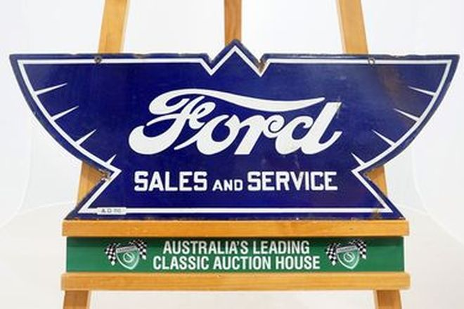 Enamel Sign -  Ford Sales & Service Double sided - Original (76 x 30.5 cm)