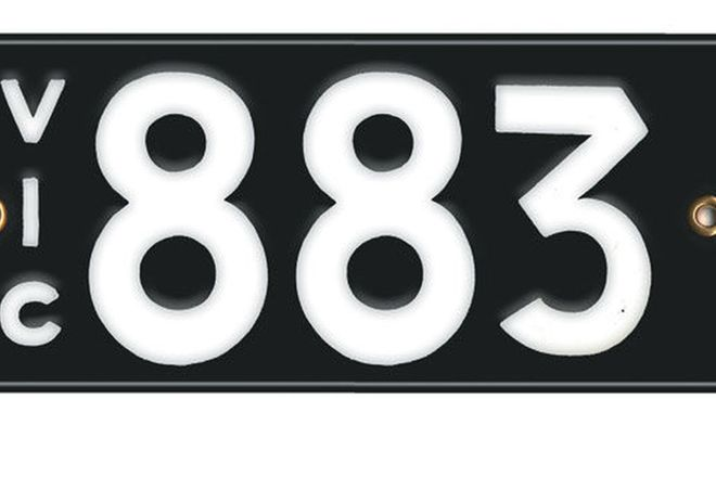 Victorian Vitreous Enamel Number Plates - '883'