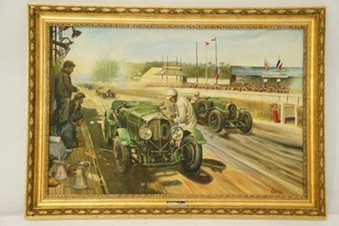 Framed Oil Painting - Bentley Boys No.9 & 10 At Le Mans On Canvas by Sammy Davis (106x75cm)