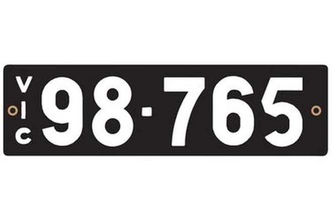 Victorian Heritage Number Plates '98.765'