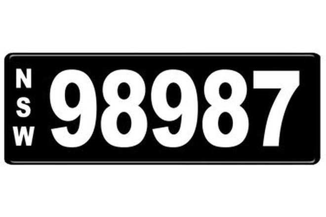 Number Plates - NSW Numerical Number Plates '98987'