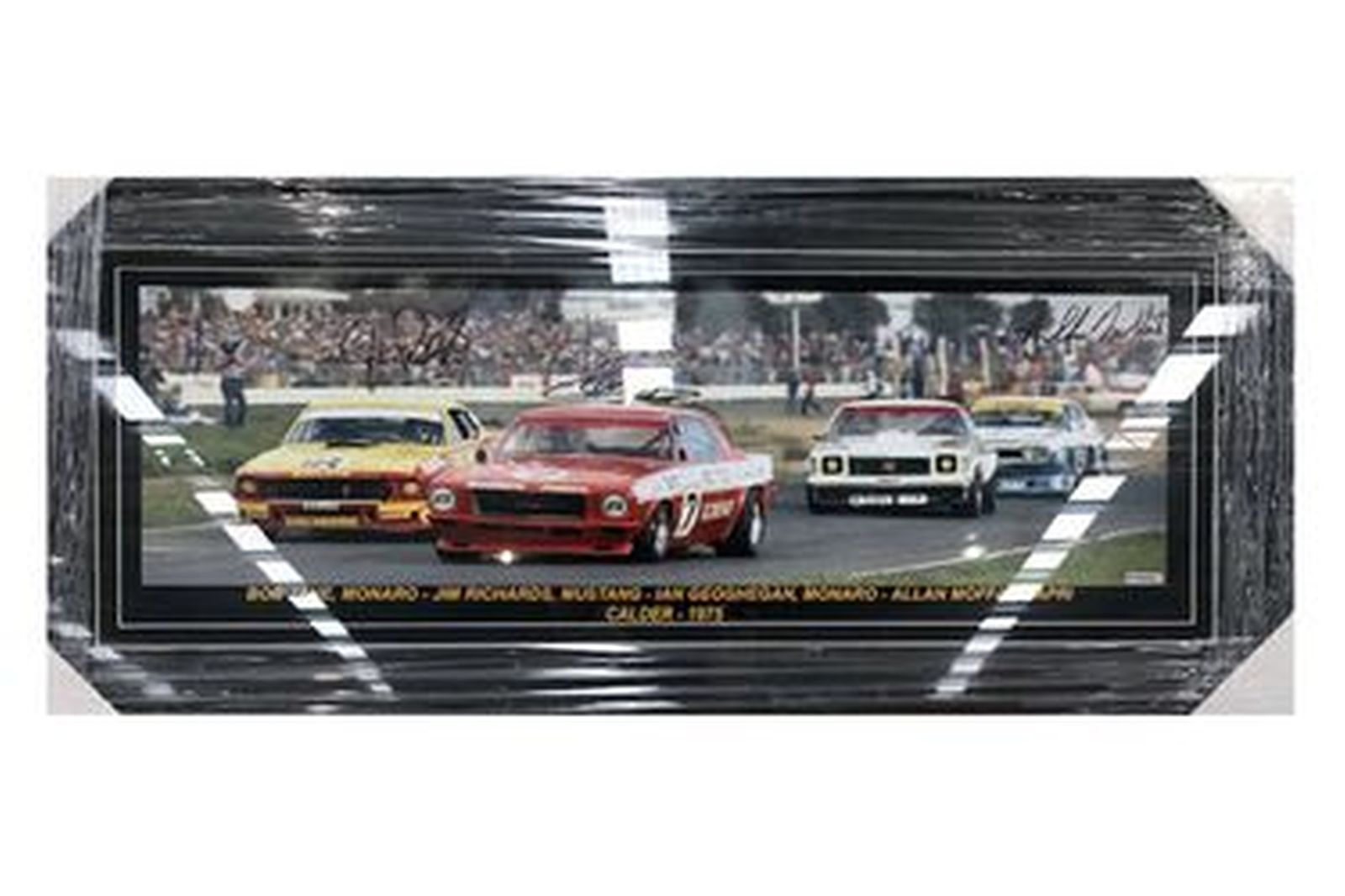 Framed Photo - Sports Sedan @ Calder 1975 Autographed by Jim Richards , Bob Jane  & Allan Moffat