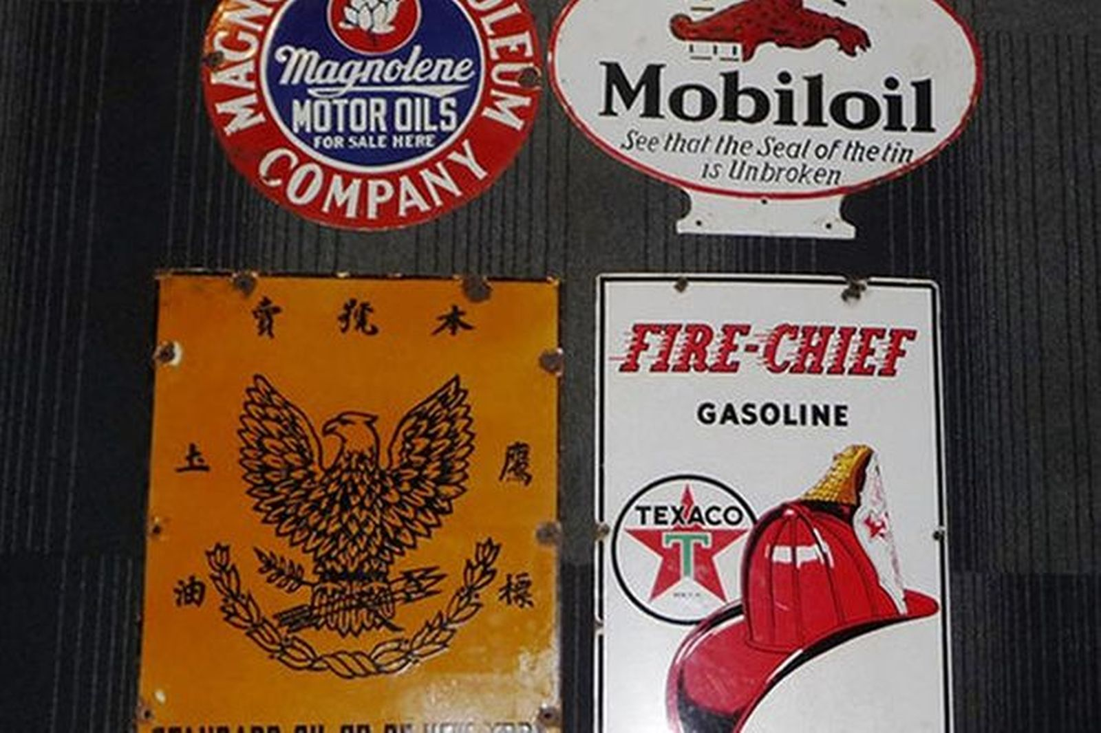 Enamel Signs x 4 - Standard Oil Fire-Chief Gargoyle & Magnolia