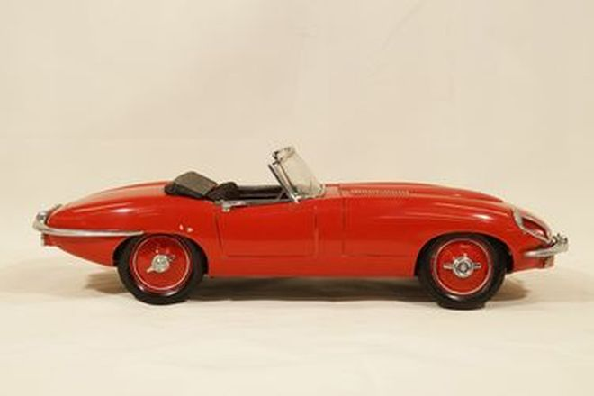 Model Car - Hand Carved Wooden Jaguar E-Type series 2 Roadster detailed with interior trim