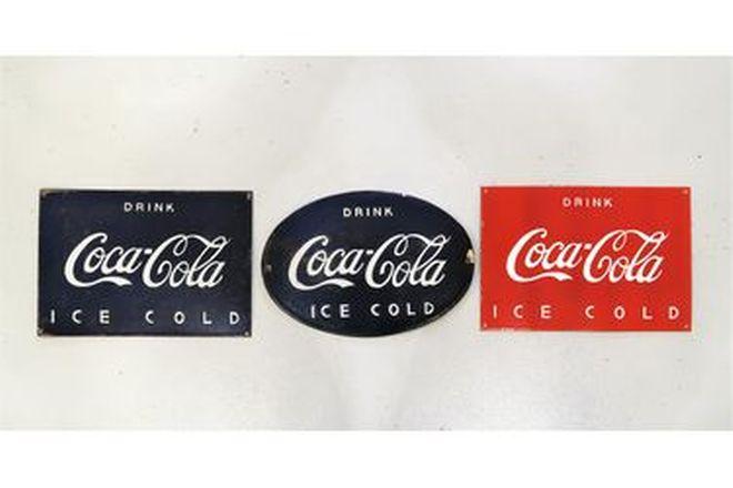 Enamel Signs x 3 - Coca-Cola Oval, Coca-Cola Rectangle x 2 - Reproduction (41 x 28cm)