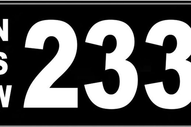 Number Plates - NSW Numerical Number Plates '233'