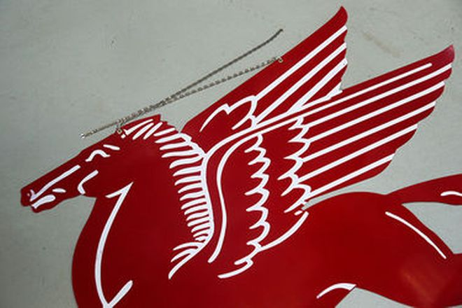 Tin Sign - Large Mobilgas Pegasus reproduction with nickel plated hanging chains