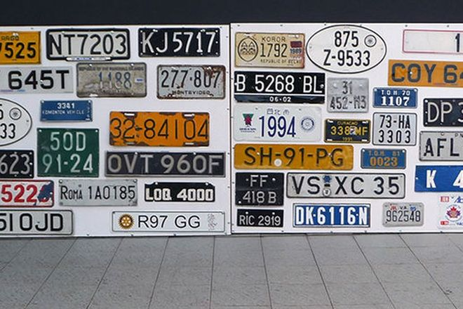 Number Plates - 38 x European Number Plates mounted on 2 boards