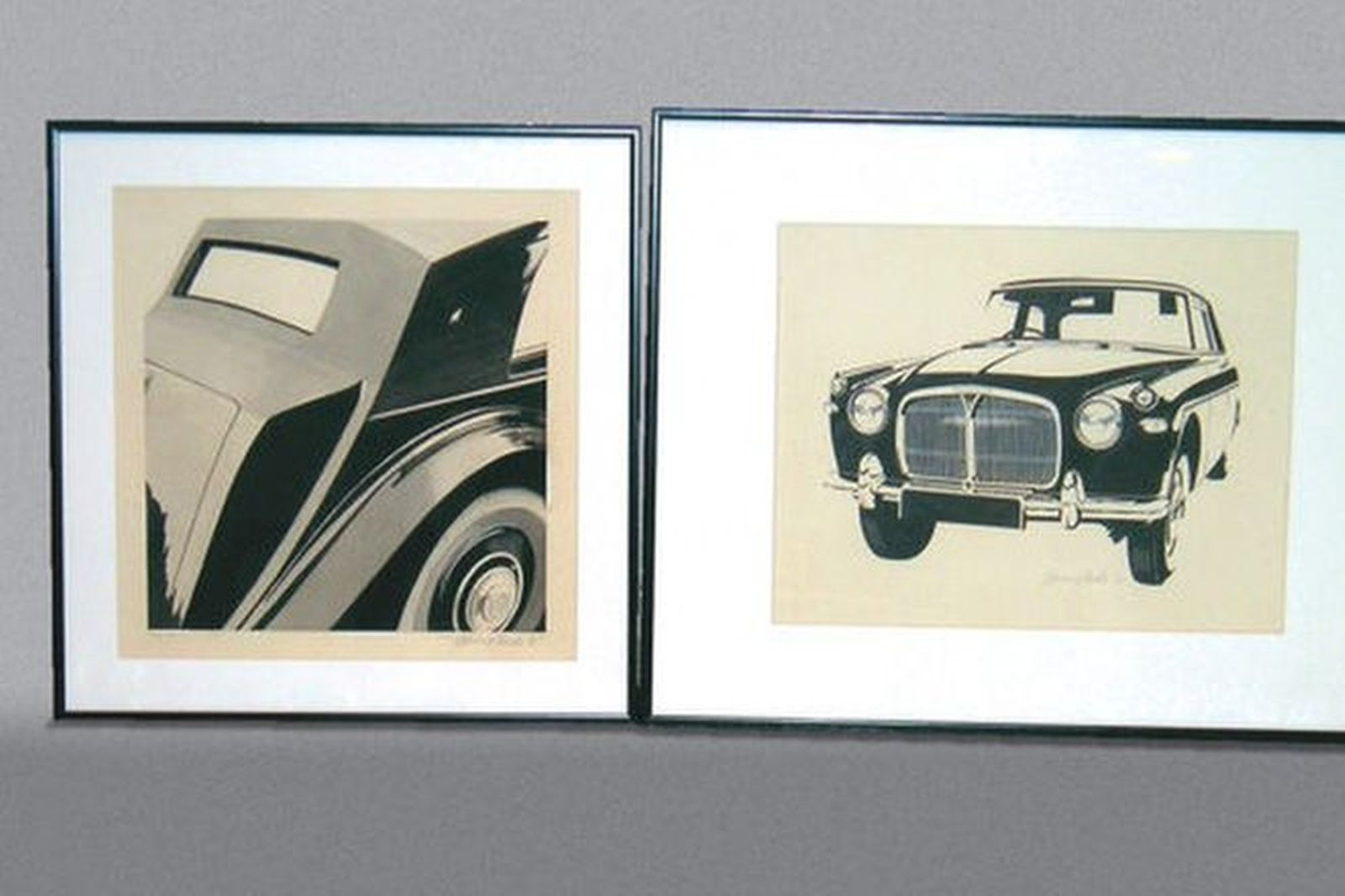2x Paintings - Wash - Bentley Mk6, Pen & Ink - Rover P5