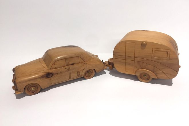 Wooden Model - Holden FX with Vintage Caravan