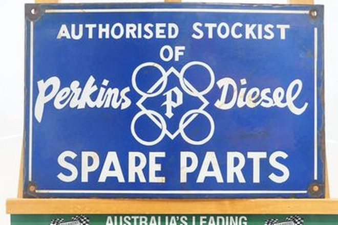 Enamel Sign - Authorised Stockist of Perkins Diesel Spare Parts Sign (48 x 31 cm)