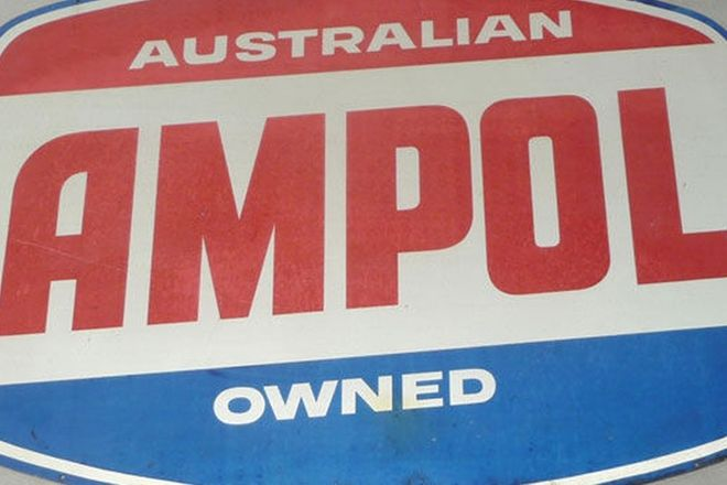 Aluminum Sign - Ampol  (Hamburger shape)(4' x 2'10