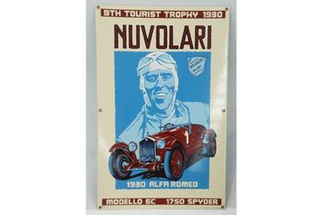 Tin Sign - Nuvolari Sign the 9th Tourist Trophy  (Size - 48 x 76.5cm)
