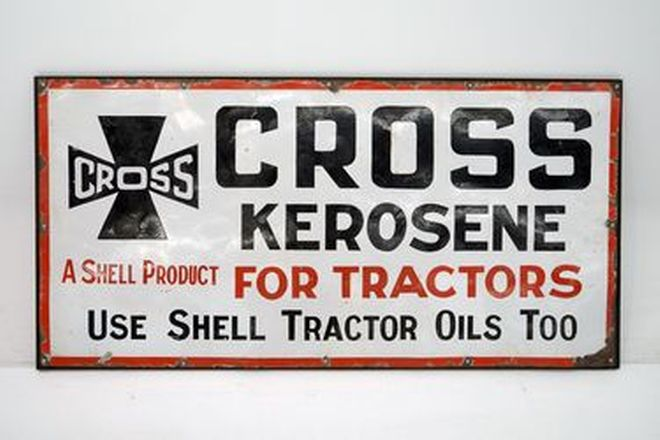 Enamel Sign - Cross Kerosene (6' x 3')