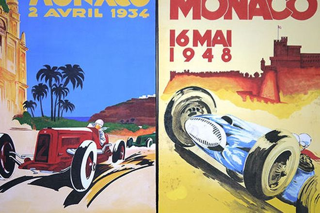 Prints x 2- 1934 & 1948 Monaco Painted Copies of Original Posters by artist Terry Lawrie