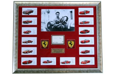 1 x Enzo Ferrari Signed & Framed Collage (92 x 113cm)