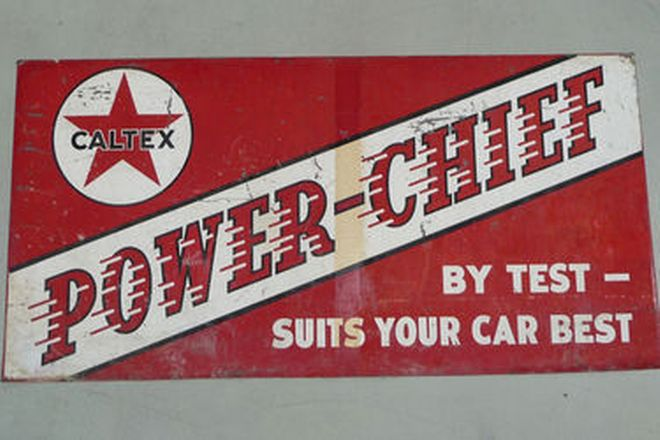 Tin Sign - Caltex Power Chief Double sided Screen Print (180 x 90cm)