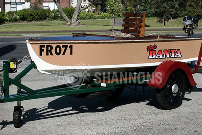 Banta Wooden Boat on Single axle Trailer