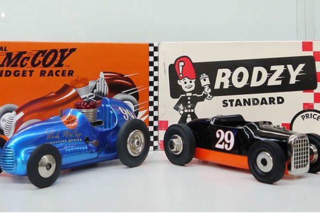 Tether Model Cars - Real McCoy Midget Racer #99 & Rodzy Standard #29 (Reproduction)