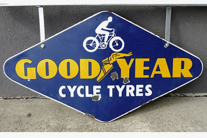 Enamel Sign - Double sided Goodyear Cycle Tyres - Diamond Shape with Wall Mount Bracket (91 x 50cm)