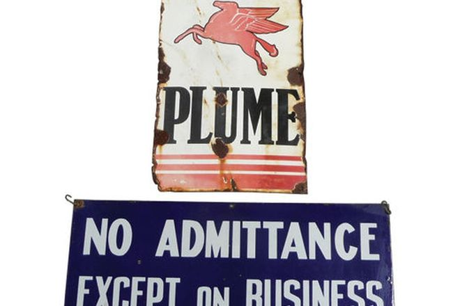 Enamel Signs x 2 - Plume Bowser Mount & Vaccum Oil Co. 'No Admittance