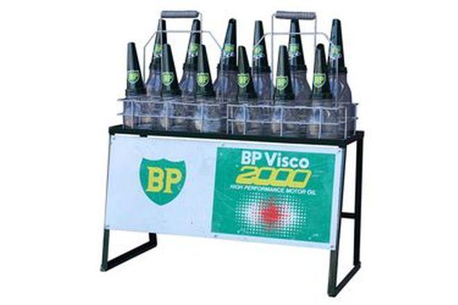 Oil Rack - BP Visco 2000 Double with 12 Bottles & Tops
