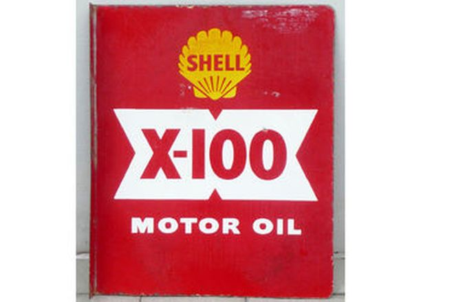 Enamel Sign - Double Sided Shell Sign with Post Mount (45cm x 55cm)