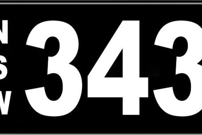 Number Plates - NSW Numerical Number Plates '343'
