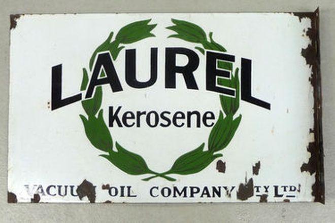 Enamel Sign - Laurel Kerosene Post Mount Double Sided (Original)