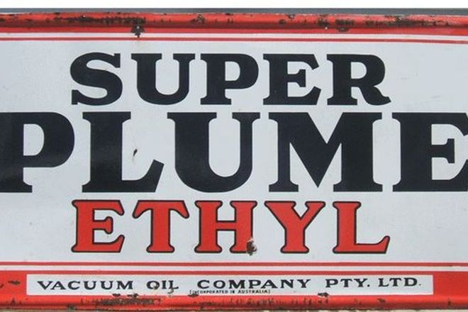 Enamel Sign - Super Plume Ethyl (6' x 3')