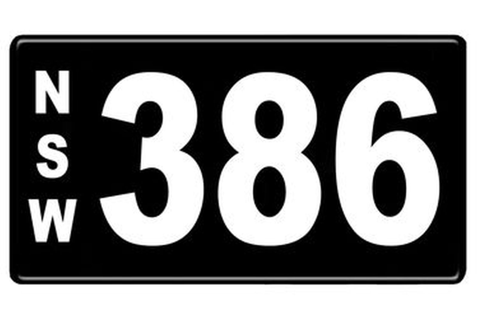 NSW Numerical Number Plates '386'