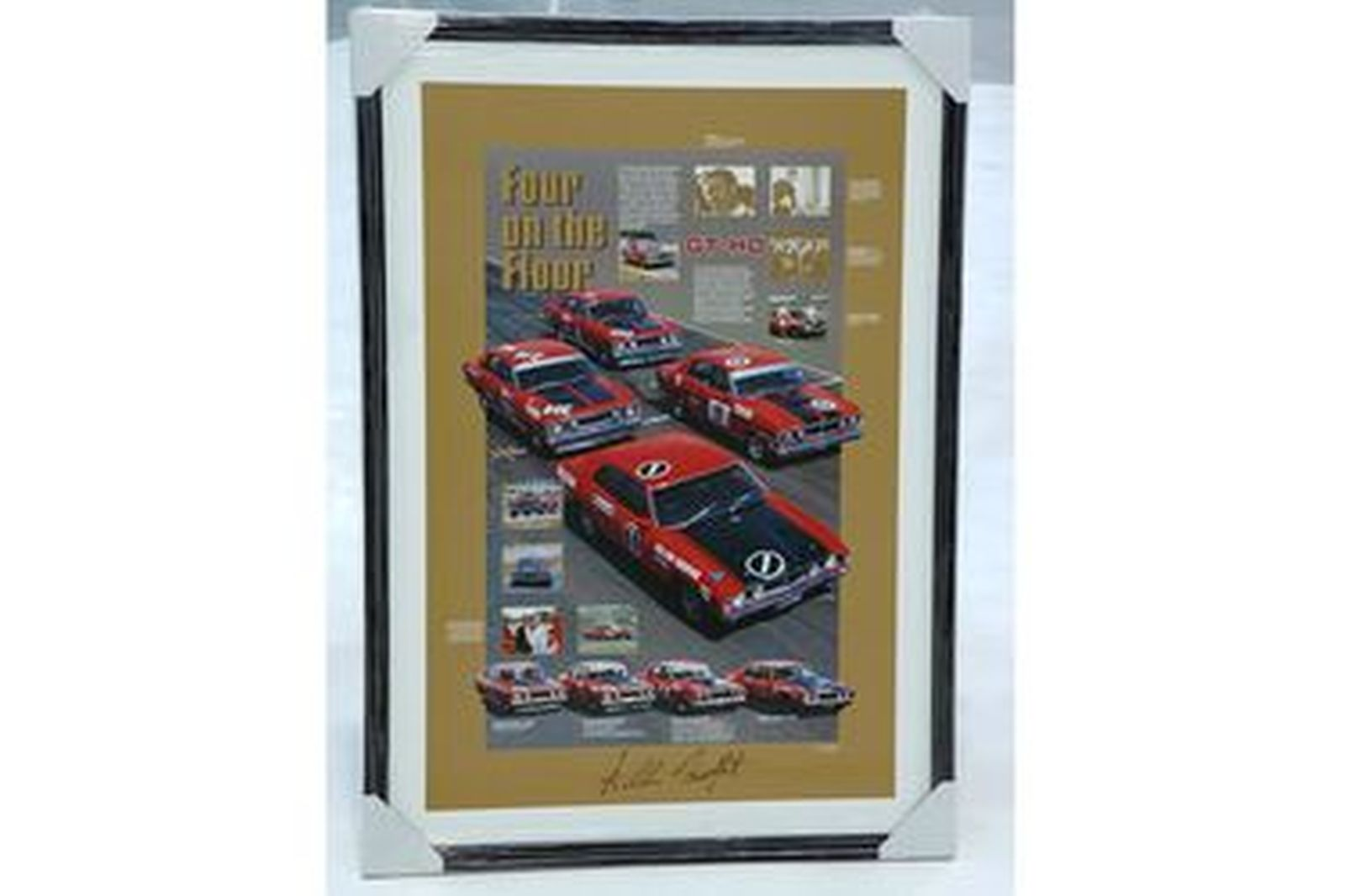 Framed Signed Print - Tribute to Ford Falcon GT-HO Phase 1,2,3,4 signed By Allan Moffat
