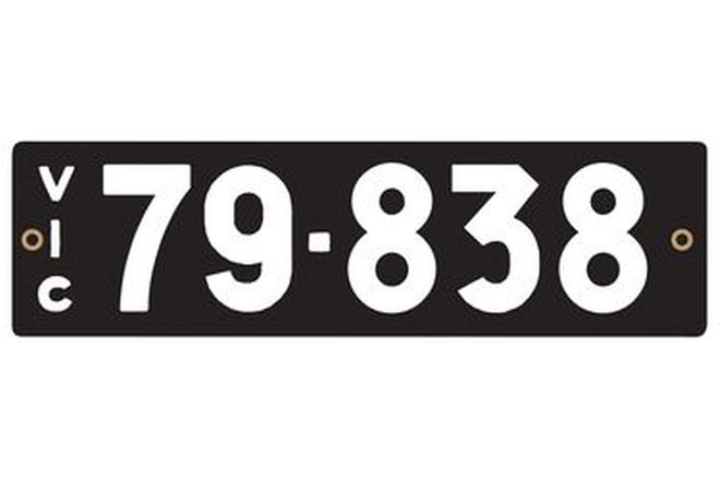 Victorian Heritage Numerical Number Plates '79.838'