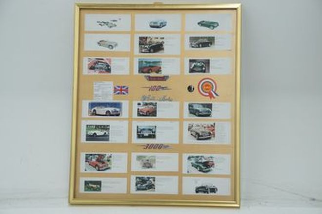 Framed Board - Austin-Healey made-up board with Austin-Healey, 100 & 3000 badges