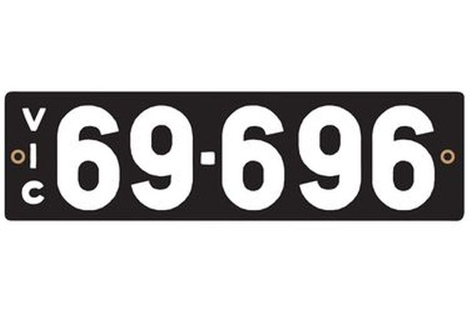 Victorian Heritage Numerical Number Plate - 69.696