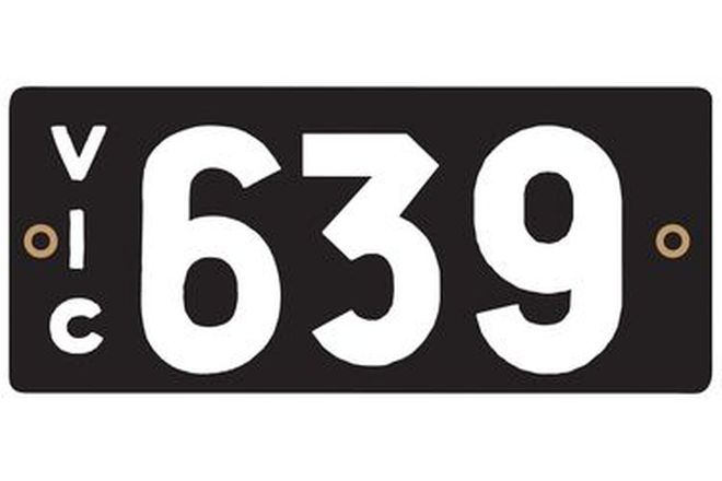 Victorian Heritage Numerical Number Plate - 639