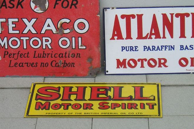 Enamel Signs x 3 - Shell, Atlantic & Texaco