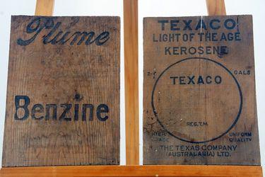 Wooden Box Ends - Plume Benzine & Texaco (24 x 35cm)