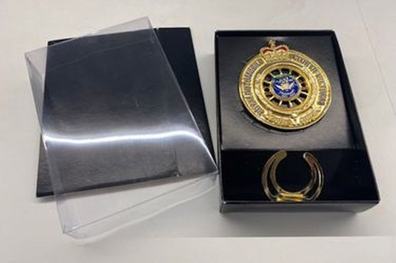 RACV Limited Edition 22ct gold plated (100 years) Rally Badge in gift box