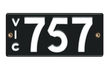 Victorian Vitreous Enamel Number Plates - '757'