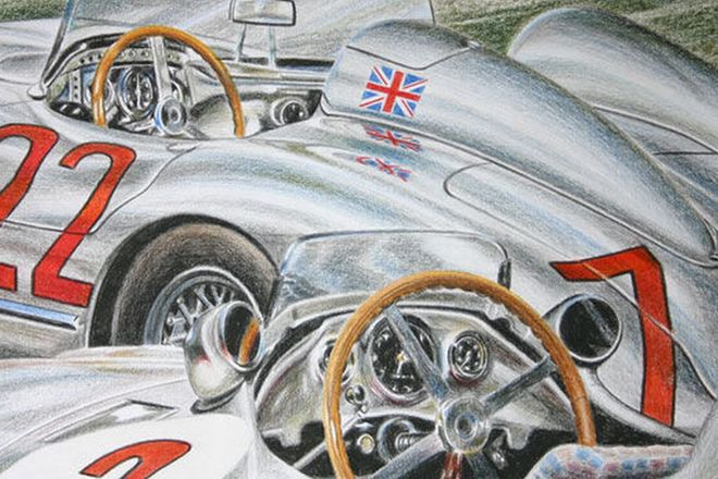 Charity Lot - Orginal Painting - Mercedes-Benz 300SLR by George Vrastaminos Signed by Sir Stirling M