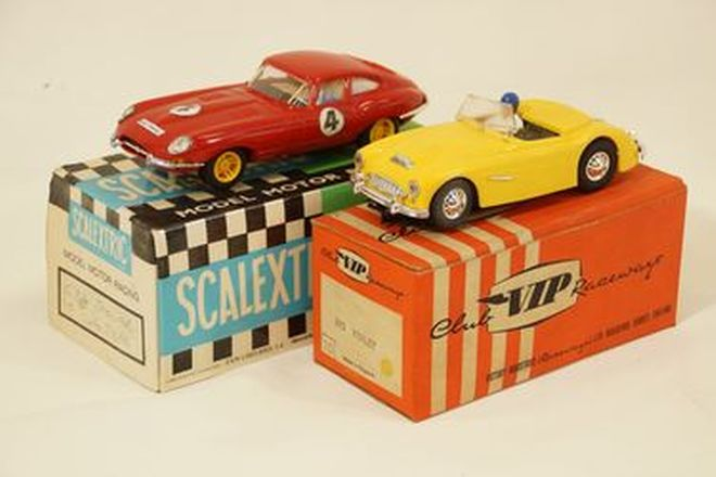 Slot Cars x 2 - Scalextrix plastic Jaguar E-Type C34 Red & VIP R65 Healey Race car Yellow