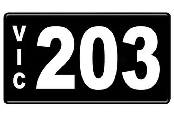 Number Plates - Victorian Numerical Number Plates - 203