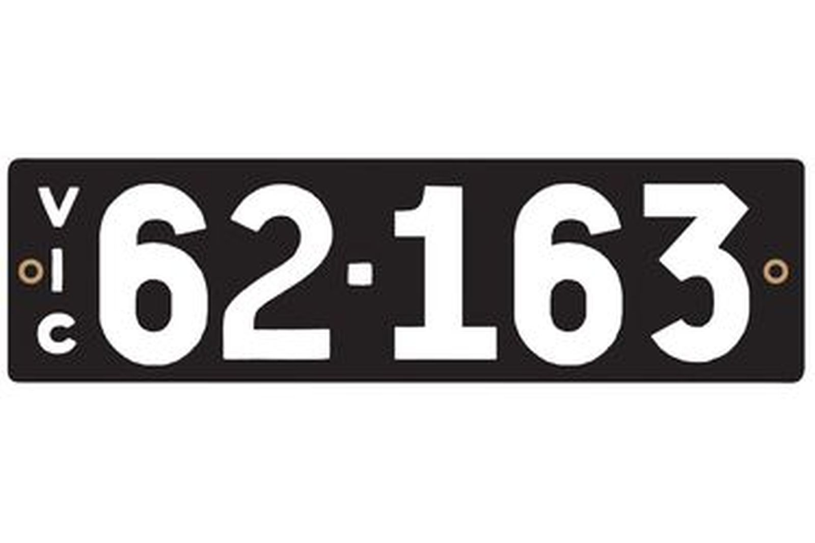 Victorian Heritage Numerical Number Plate - 62.163