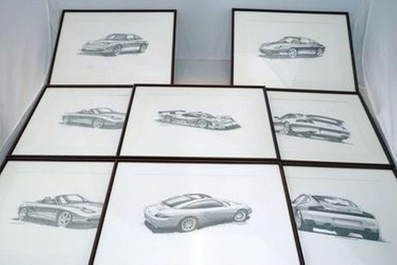 Framed Sketches x 8 -  Fredd Briggs Porsche Framed Sketches (51 x 41cm)