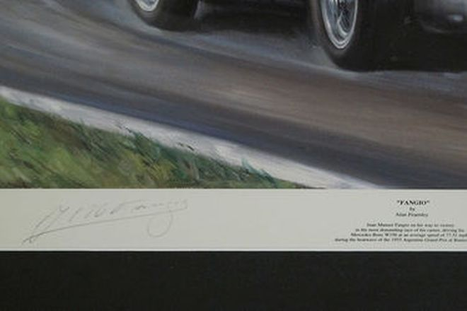 Framed Signed Print - Fangio driving the Mercedes W196 1955 Argentine G.P (402/500) (83 x 65cm)