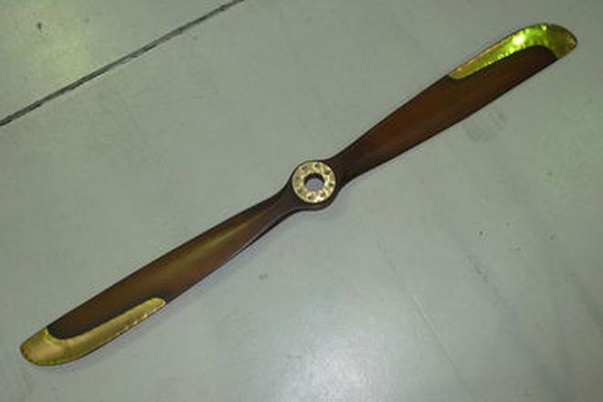 Propellor - Carved in mahogany with brass leading edges (Reproduction - 6ft tall)