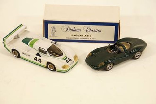 Model Cars x 2 - Dinkum Classics diecast Jaguar XJ13 BRG with box & XJR5 Race Car #44 (1:43 scale)